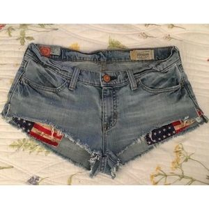 Shorts - Denim Jean Cotton Stretch shorts flag pockets sz 6